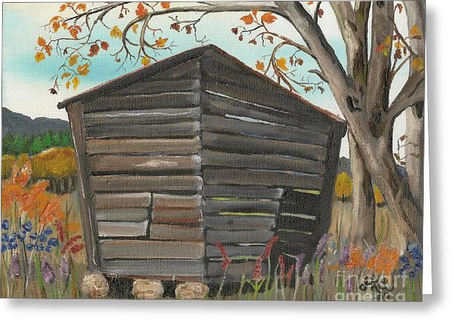 Autumn - Shack - Woodshed Greeting Card