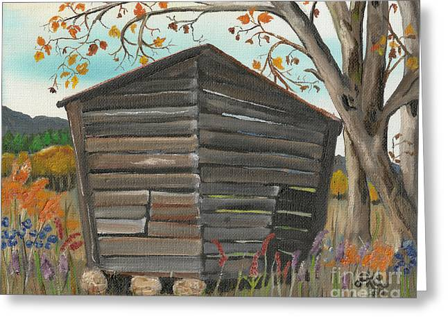 Autumn - Shack - Woodshed Greeting Card by Jan Dappen