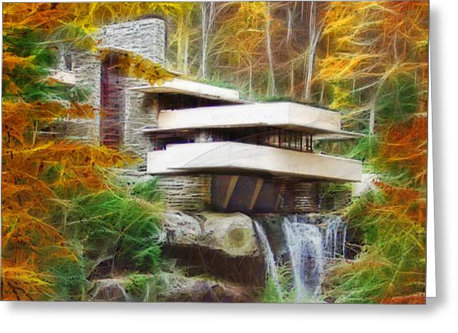 Fixer Upper - Square Version - Frank Lloyd Wright's Fallingwater Greeting Card
