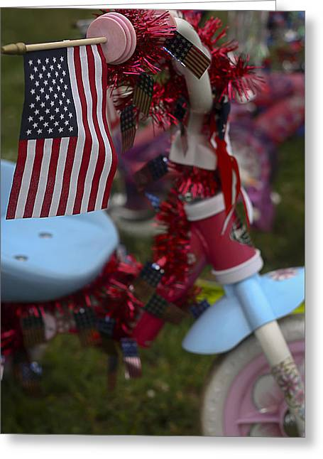 Greeting Card featuring the photograph Flag Bike by Patrice Zinck