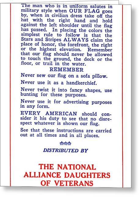 Flag Etiquette, 1925 Greeting Card