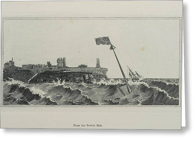 Flag Flying In A Stormy Sea Greeting Card