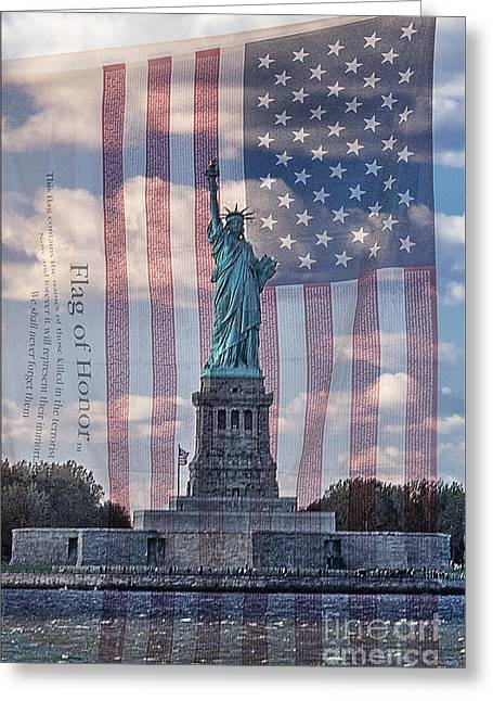 Liberty And Flag Of Honor Greeting Card by Priscilla Burgers