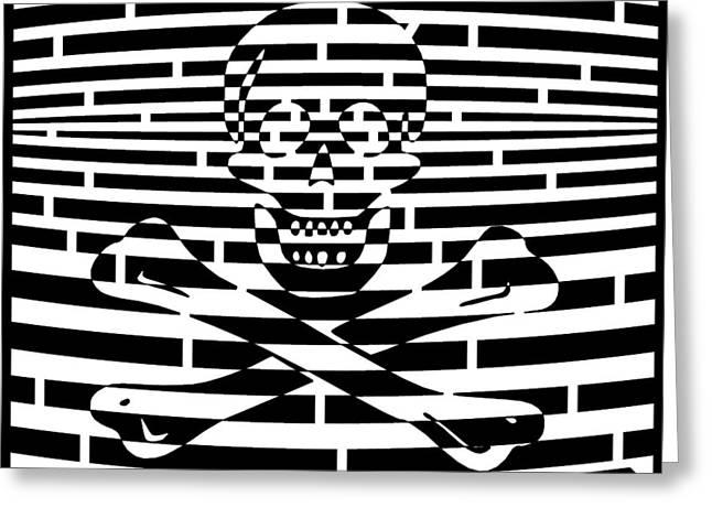 Flag Of Jolly Roger Maze Greeting Card by Yonatan Frimer Maze Artist