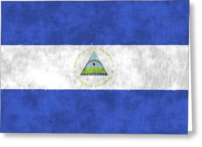 Flag Of Nicaragua Greeting Card by World Art Prints And Designs