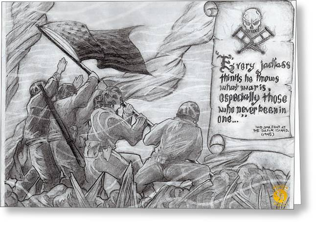 Flag Of Our Fathers Greeting Card by Richard Bantigue