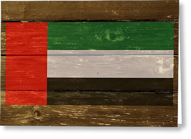 United Arab Emirates Flag On Wood Greeting Card by Movie Poster Prints