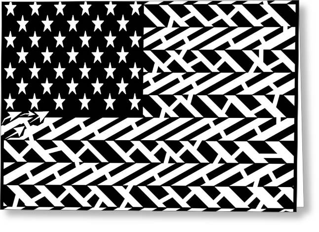 Flag Of Usa Maze Greeting Card by Yonatan Frimer Maze Artist