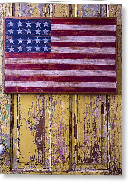 Flag On Old Yellow Door Greeting Card by Garry Gay