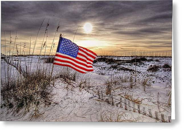 Flag On The Beach Greeting Card