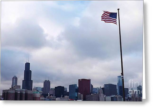 Flag Over City Greeting Card by Brigitte Emme