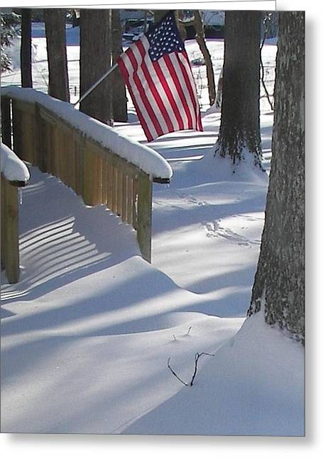 Flag Over Morning Snow Greeting Card