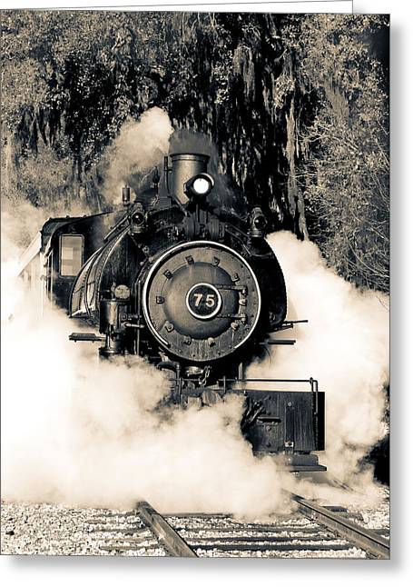 Flagg Coal Steam Engine Blow Out Greeting Card