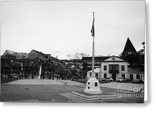 flagpole and waterfront Ushuaia Argentina Greeting Card by Joe Fox