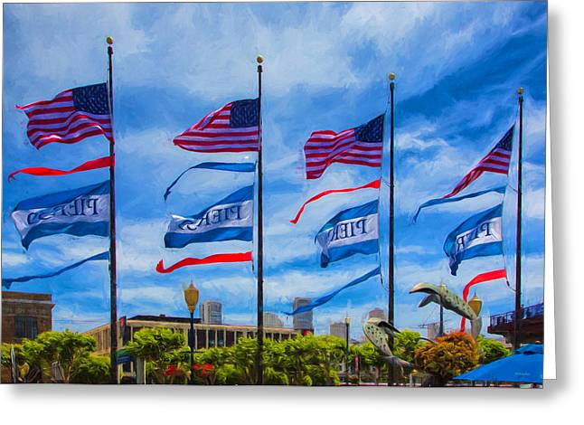 Flags At Pier 39 Greeting Card by John M Bailey
