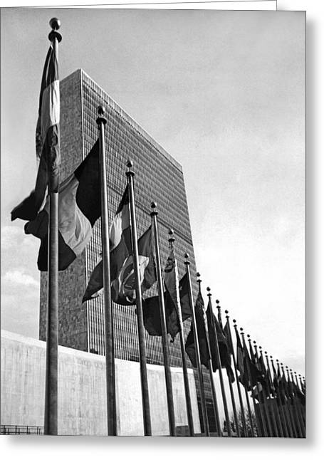 Flags Flying At United Nations Greeting Card by Underwood Archives