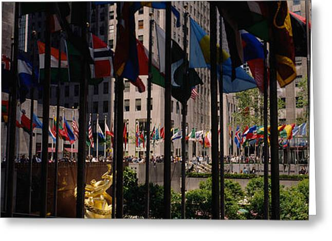 Flags In A Row, Rockefeller Plaza Greeting Card by Panoramic Images