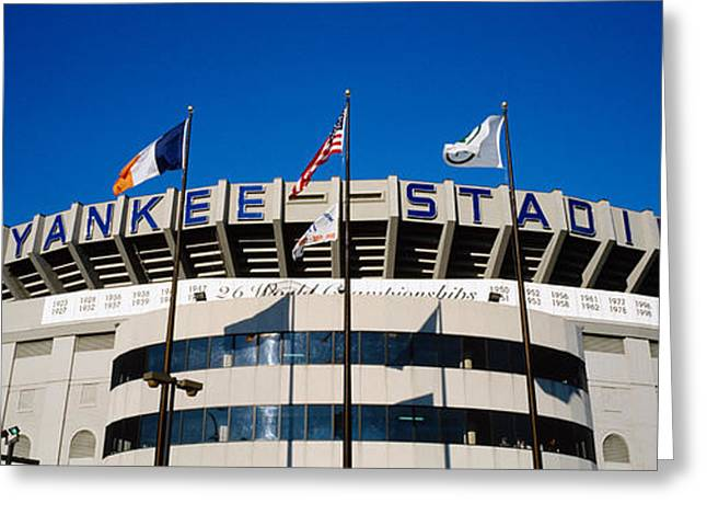 Flags In Front Of A Stadium, Yankee Greeting Card