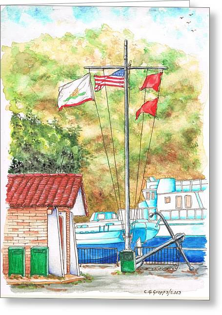 Flags In San Luis Port,  Avila Beach, California Greeting Card