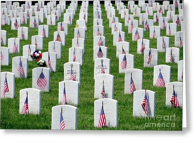 Greeting Card featuring the photograph Flags Of Honor by Ed Weidman