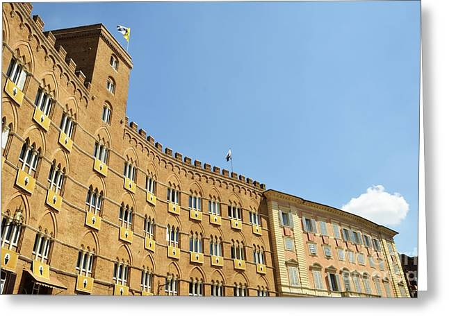 Flags On Building On Piazza Del Campo Greeting Card by Sami Sarkis