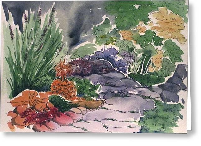 Flagstone Path Greeting Card by Renee Goularte