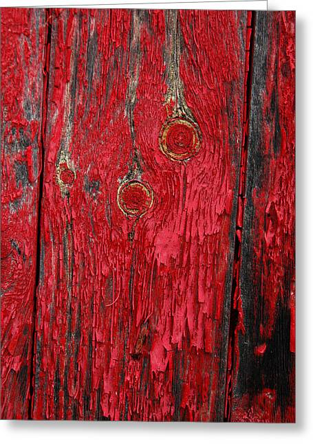 Flaking Red Paint On Old Shed. Greeting Card by Rob Huntley