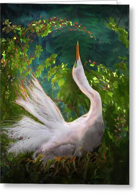 Flamboyant Egret Greeting Card by Melinda Hughes-Berland
