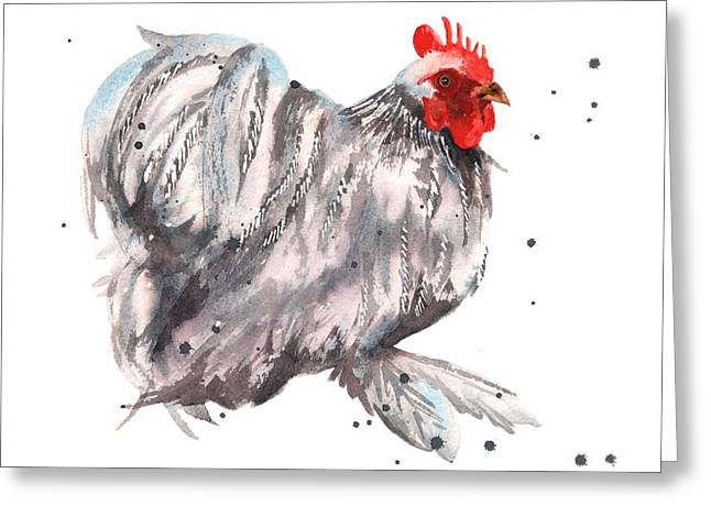 Flamboyant Rooster Greeting Card by Alison Fennell