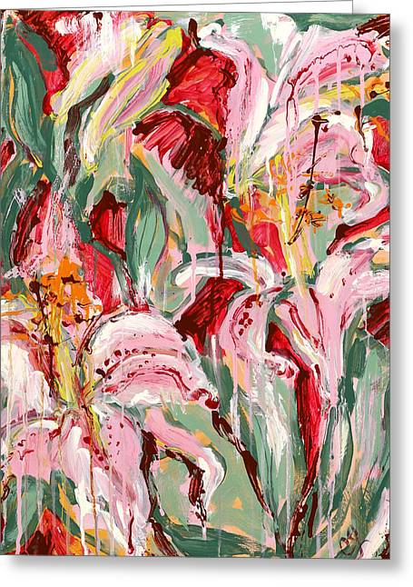 Flame Lilies Greeting Card by Carole Goldman