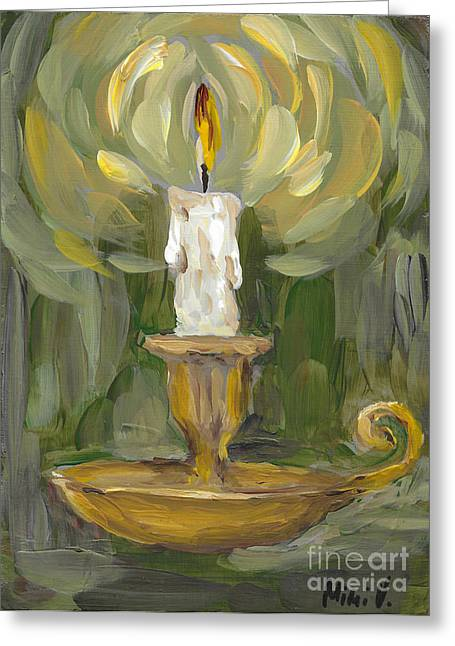 Greeting Card featuring the painting Flame by Maria Langgle