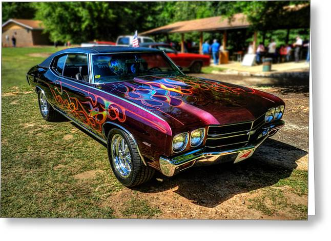 Flamed '70 Chevy Malibu 001 Greeting Card by Lance Vaughn