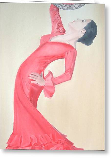Flamenco Greeting Card by Angela Melendez