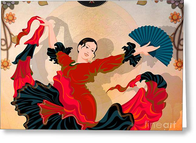 Flamenco Dancer Greeting Card by Bedros Awak