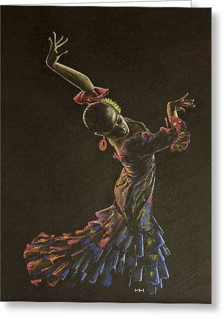 Flamenco Dancer In Flowered Dress Greeting Card by Martin Howard