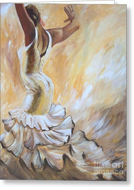 Flamenco Dancer In White Dress Greeting Card by Sheri  Chakamian