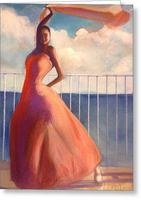 Flamenco Dancer Waving Scarf Greeting Card