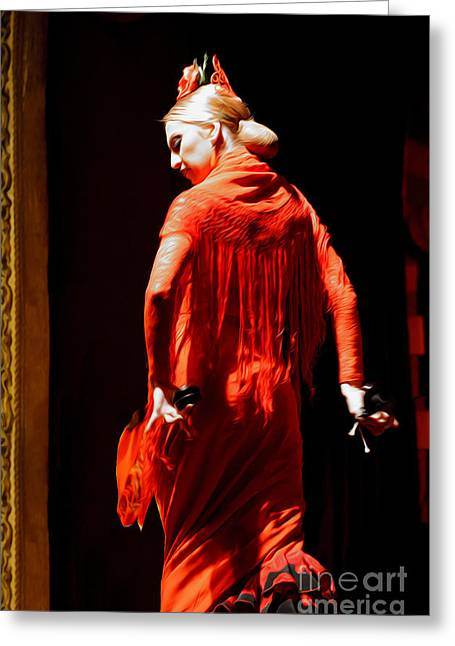 Flamenco Dancer With Golden Hair - Oil Greeting Card by Mary Machare