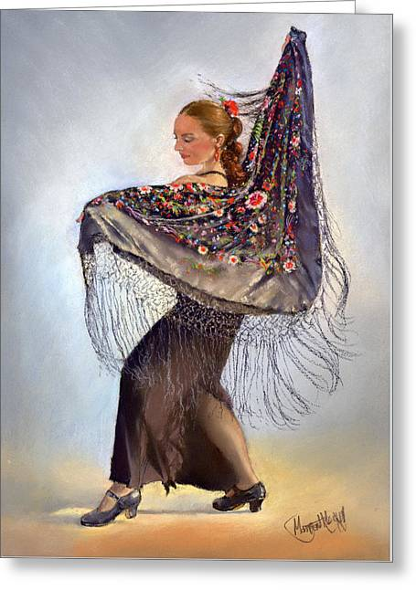 Flamenco Dancer With Shawl Greeting Card
