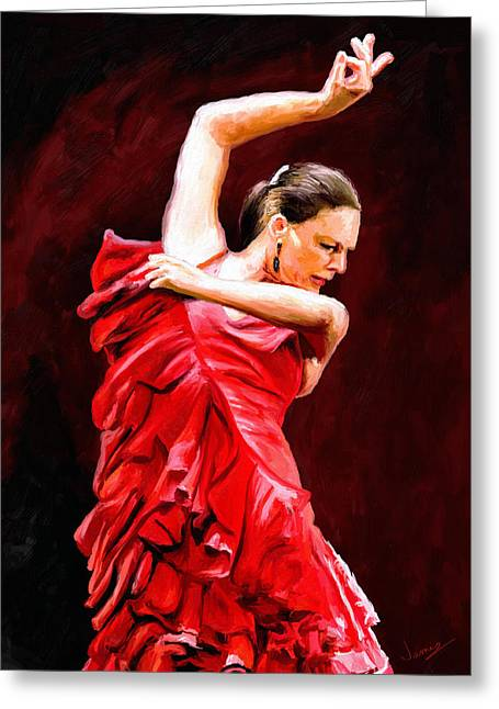 Flamenco Greeting Card by James Shepherd