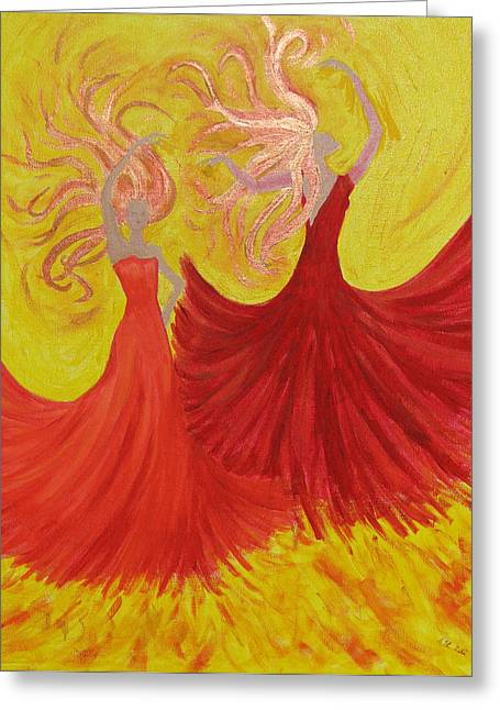 Greeting Card featuring the painting Flamenco by Stephanie Grant