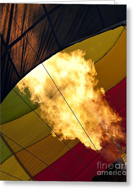 Flames Burst Out As A Hot Air Balloon Is Being Inflated Greeting Card