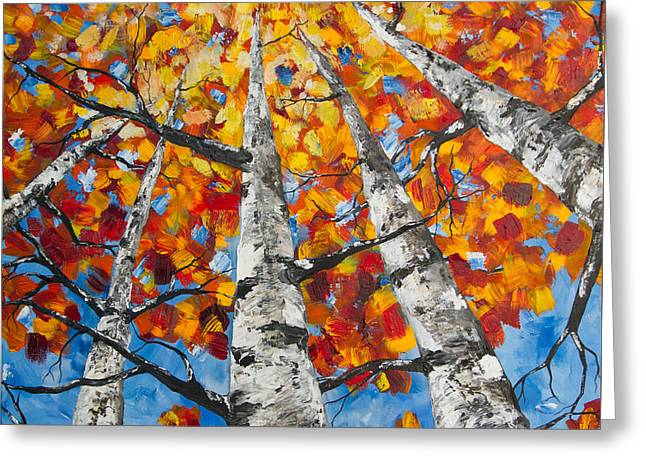 Flaming Aspens Greeting Card