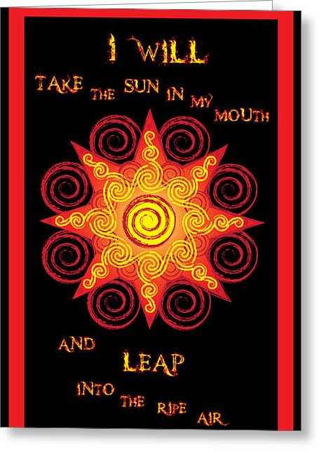 Flaming Celtic Sun Greeting Card
