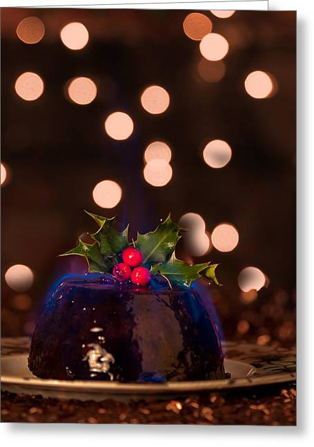 Flaming Christmas Pudding Greeting Card by Amanda Elwell