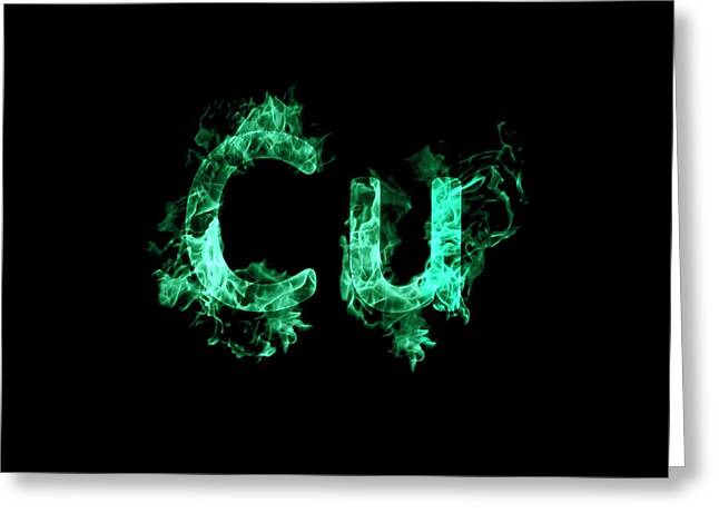 Flaming Copper Symbol Cu Greeting Card by Science Photo Library