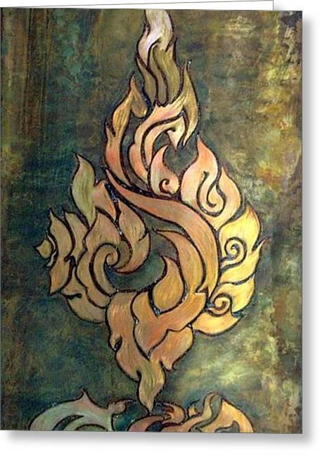 Flaming Dragon Rose Panel Greeting Card