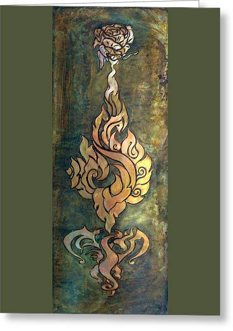 Flaming Dragon Rose Panel Greeting Card