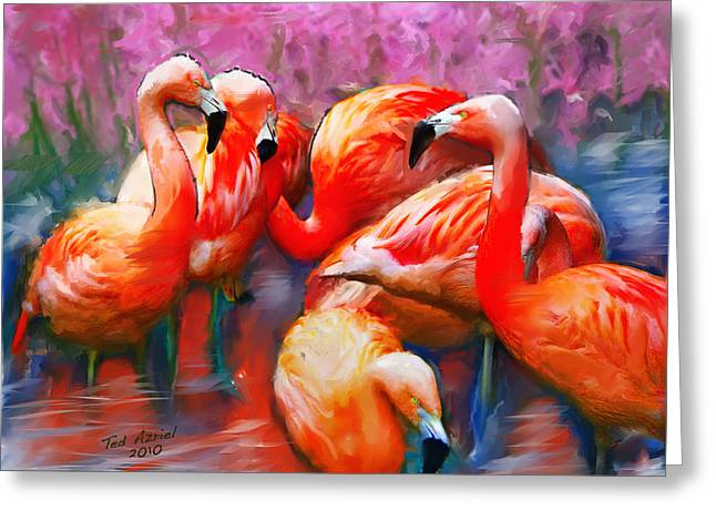 Flaming Flamingos Greeting Card
