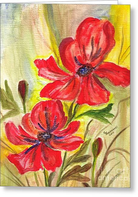 Flaming Garden Flowers Greeting Card by Clementine Kondracki
